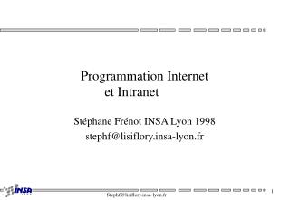 Programmation Internet et Intranet
