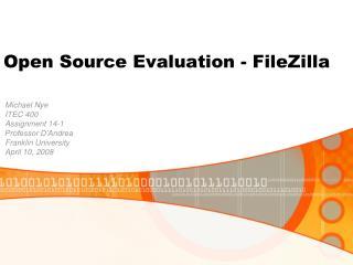 Open Source Evaluation - FileZilla