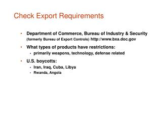 Check Export Requirements