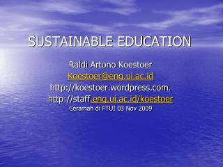 SUSTAINABLE EDUCATION