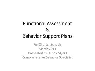 Functional Assessment & Behavior Support Plans