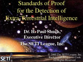 Standards of Proof for the Detection of Extra-Terrestrial Intelligence