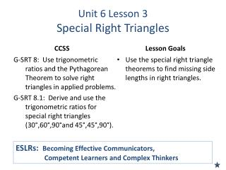 Unit 6 Lesson 3 Special Right Triangles