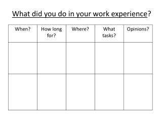 What did you do in your work experience ?
