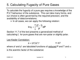 5. Calculating Fugacity of Pure Gases