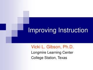 Improving Instruction