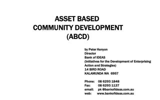 ASSET BASED  COMMUNITY DEVELOPMENT (ABCD)