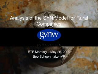 Analysis of the SYN Model for Rural Companies