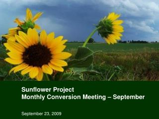 Sunflower Project  Monthly Conversion Meeting – September
