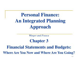 Personal Finance: An Integrated Planning Approach