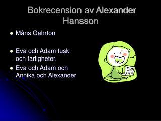 Bokrecension av Alexander Hansson