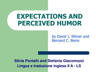 EXPECTATIONS AND PERCEIVED HUMOR