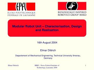 Modular Robot Unit – Characterisation, Design and Realisation