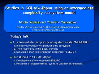 Studies in SOLAS-Japan using an intermediate complexity ecosystem model