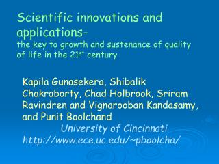 Scientific innovations and applications-