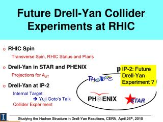 Future Drell-Yan Collider Experiments at RHIC