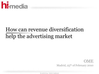 How can revenue diversification help the advertising market