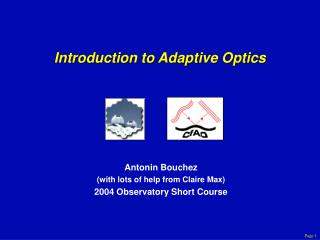 Introduction to Adaptive Optics