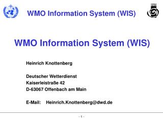 WMO Information System (WIS)