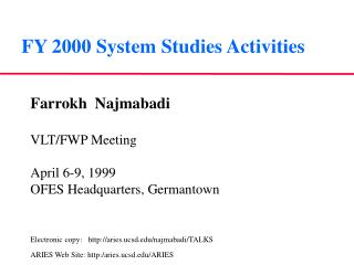 FY 2000 System Studies Activities