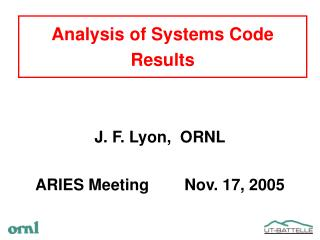Analysis of Systems Code Results