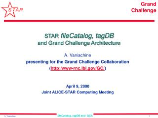 STAR fileCatalog, tagDB and Grand Challenge Architecture