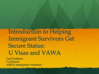 Introduction to Helping Immigrant Survivors Get Secure Status: U Visas and VAWA
