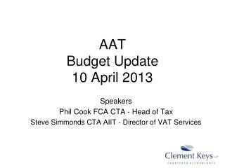 AAT  Budget Update 10 April 2013