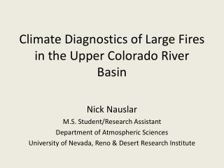 Climate Diagnostics of Large Fires in the Upper Colorado River Basin