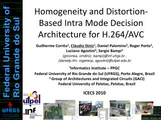 Homogeneity and Distortion-Based Intra Mode Decision Architecture  for H.264/AVC