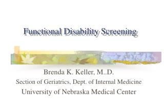 Functional Disability Screening