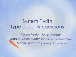 System F with  type equality coercions