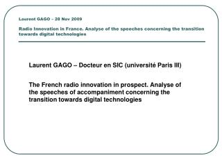 Laurent GAGO – Docteur en SIC (université Paris III)