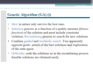 The cycle of a Genetic Algorithms is presented below