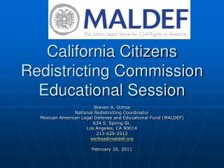 California Citizens Redistricting Commission  Educational Session