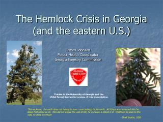 The Hemlock Crisis in Georgia (and the eastern U.S.)