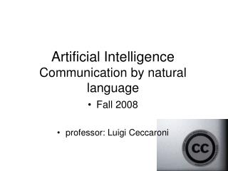 Artificial Intelligence Communication by natural language