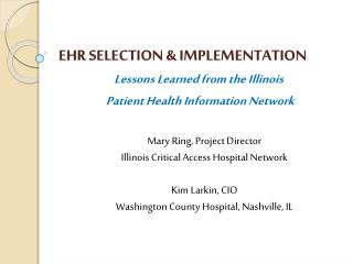 EHR SELECTION & IMPLEMENTATION