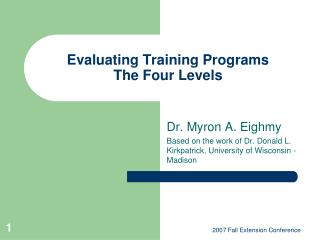 Evaluating Training Programs The Four Levels
