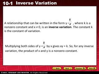 Additional Example 1A: Identifying an Inverse Variation