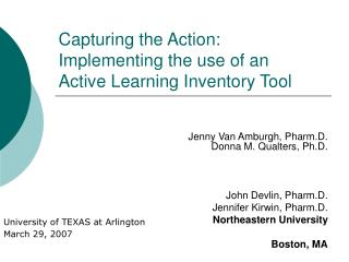 Capturing the Action: Implementing the use of an  Active Learning Inventory Tool