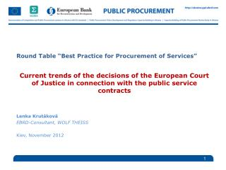 "Round Table  "" Best Practice for Procurement of Services """