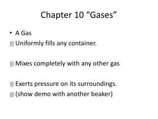 """Chapter 10 """"Gases"""""""