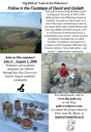 "Dig Biblical ""Gath of the Philistines"" Follow in the Footsteps of David and Goliath"