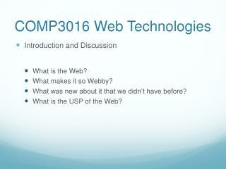 COMP3016 Web Technologies
