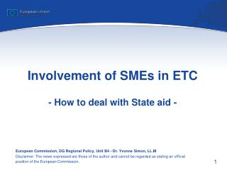 Involvement of SMEs in ETC - How to deal with State aid -