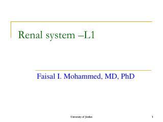 Renal system –L1