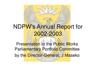 NDPW's Annual Report for 2002-2003