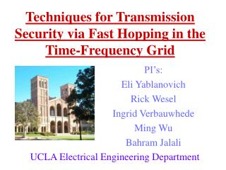 Techniques for Transmission Security via Fast Hopping in the Time-Frequency Grid
