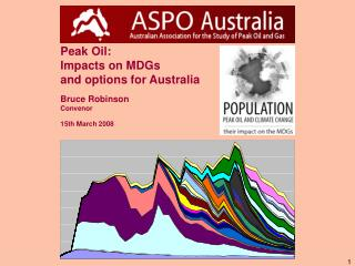 Peak Oil: Impacts on MDGs and options for Australia Bruce Robinson Convenor 15th March 2008